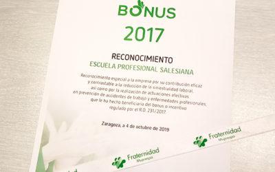 Salesianos Zaragoza recibe el Bonus 2017 de Fraternidad – Muprespa